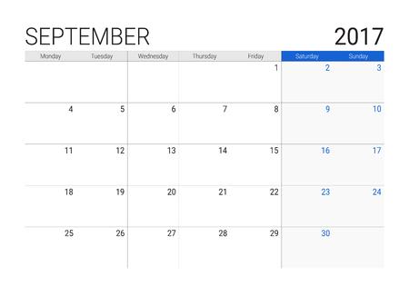 weekly: 2017 September calendar (or desk planner), weeks start on Monday