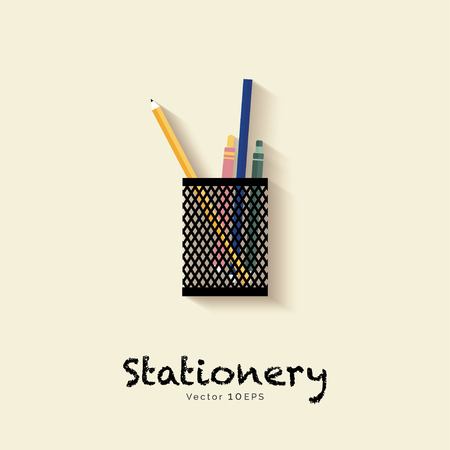 Stationery in pen holder - vector icon