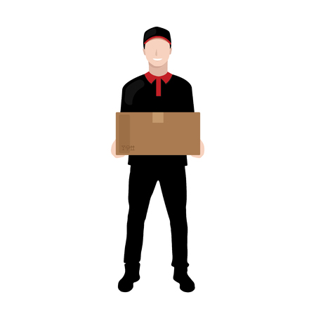 Delivery man in black uniform carrying parcel box -  courier and delivery service concepts
