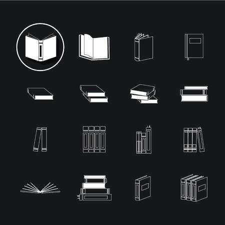 Book icons on black background Stock Illustratie