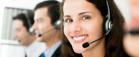 Customer service call center team, panoramic banner Banque d'images