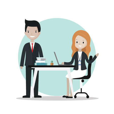 pc: Cartoon business people at working table - illustration vector