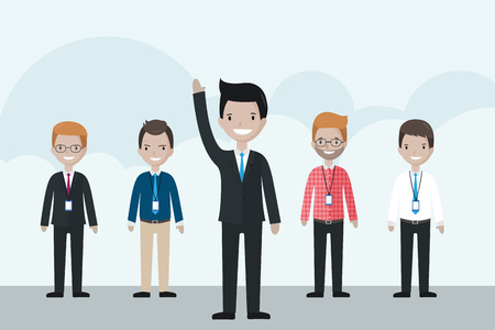 raise: Cartoon businessman standing in front of the group, raising his hand up