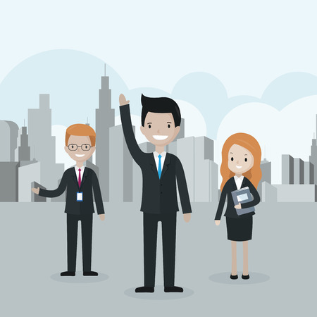 Cartoon businessman standing in front of the group, raising his hand up