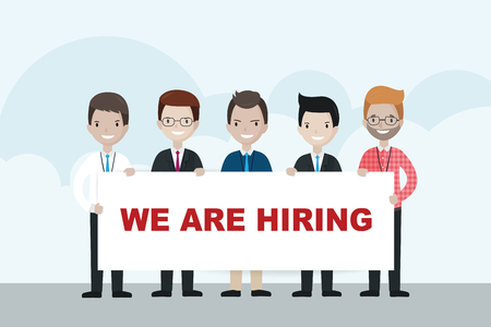 opportunity sign: Cartoon businessmen holding WE ARE HIRING sign