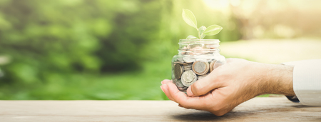 Plant growing from money (coins) in the glass jar held by a mans hands  - business and financial metaphor concept, web banner with copy space