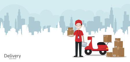 Cartoon delivery man in red uniform with motorbike - web banner with copy space Vectores