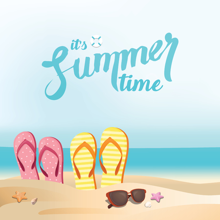 Colorful flip flop shoes and  sunglasses on the beach - summer holiday background