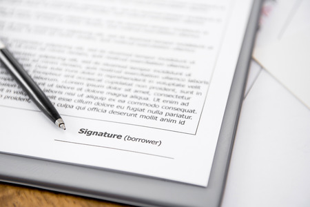 lend: Blank signature line on loan agreement