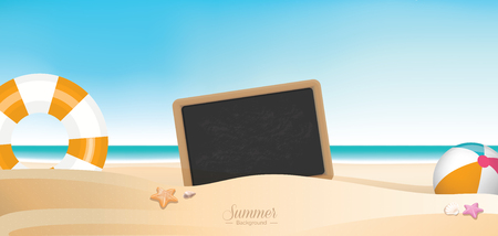 Colorful summer holiday beach panoramic banner vector background with space for texts Illustration