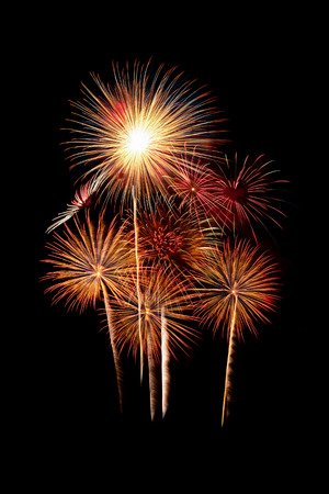 Group of beautiful sparkling vivid fireworks in celebration night
