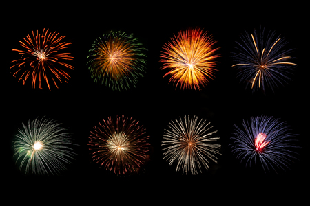 Set of various beautiful sparkling vivid fireworks for holiday celebration background