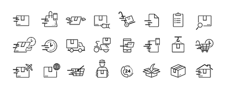 Shipping and delivery service vector icon set on white background Ilustração