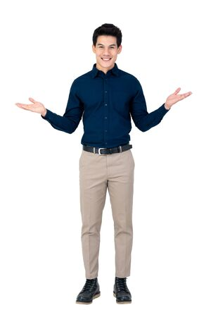 Young smiling handsome Asian man with open palms gesture studio shot isolated on white background Reklamní fotografie