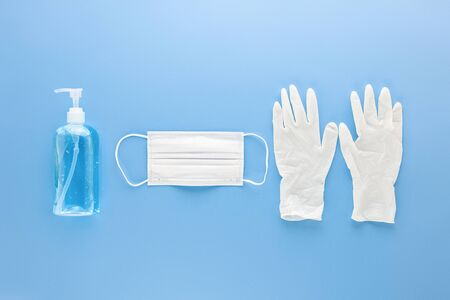 Medical mask, gloves and alcohal gel hand sanitizer for protecting from infection during COVID-19 pandemic