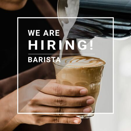 WE'RE HIRING text with barista making latte art coffee in background Stock fotó