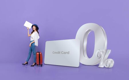 Smiling happy Asian tourist woman and credit card with 0% interest installment payment plan promotion against purple background 版權商用圖片