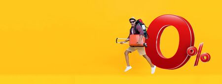 Excited handsome Indian tourist man on yellow banner background with baggage ready to go for travel with 0% interest installment payment plan Stock fotó - 146279010