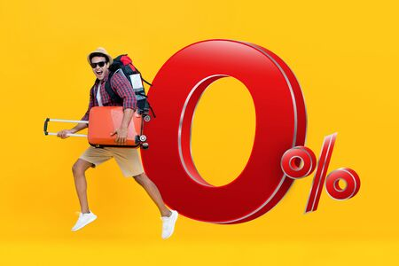 Excited handsome Indian tourist man with baggage ready to go for travel with 0% interest installment payment promotion 版權商用圖片