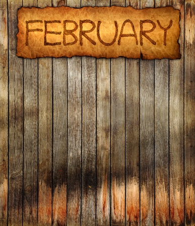 annual events: The month in vintage style on aged, old wall wood