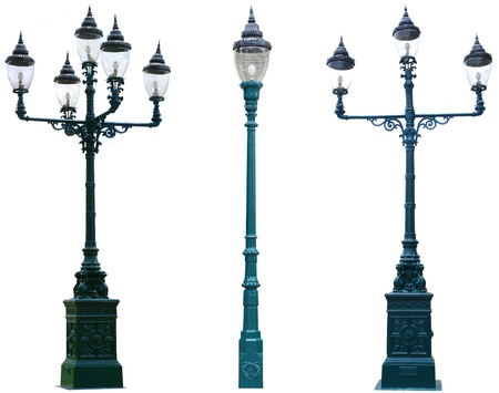 lamp on the pole: Isolated Antique Lamp Post Lamppost Street Road Light Pole  Stock Photo