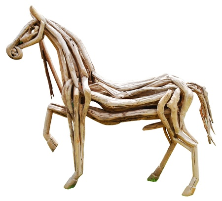 wood horse on white background.  photo