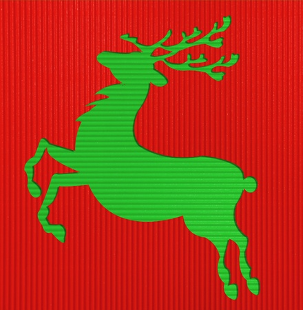 Christmas Deer Corrugated paper background  photo