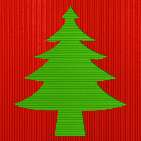 Christmas tree Corrugated paper background  photo
