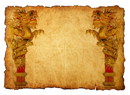 Chinese style gold dragon in old paper photo