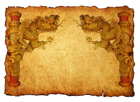 Chinese style gold dragon in old paper Stock Photo - 11820139