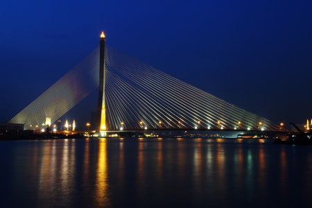 viii: Rama VIII Bridge at night in Bangkok, Thailand