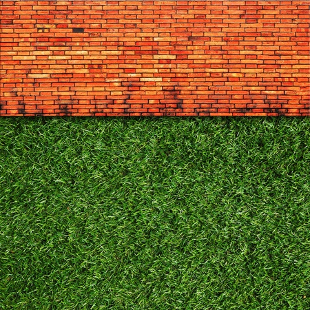 Wall Background on green grass photo