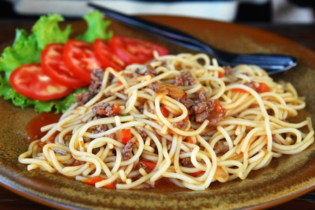 spaghetti pasta with tomato beef sauce  photo