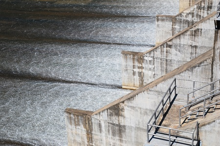 hydro: River dam and waterfall. Gates open.  Stock Photo