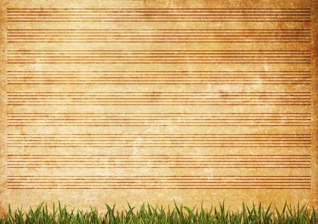 sheet music background: Old paper grunge music sheet texture background.