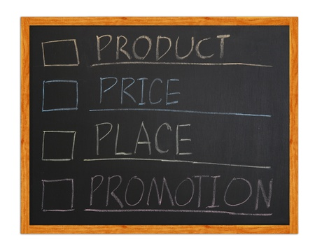 marketing 4p, Product, Place, Promotion, Price on blackboard  Stock Photo - 12232004