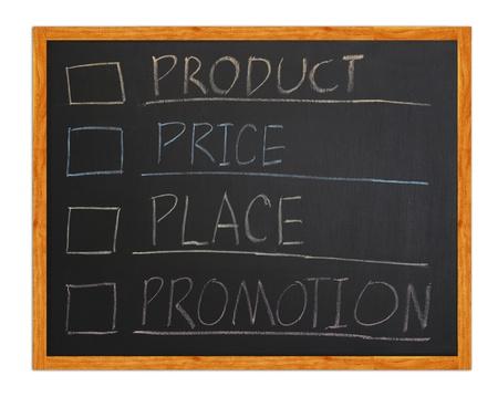 marketing 4p, Product, Place, Promotion, Price on blackboard Stock Photo - 12232004