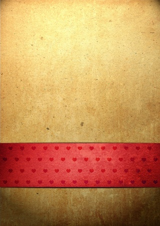 Old paper background with rich red ribbon for title or copy space, great for valentine's day Stock Photo - 12232026
