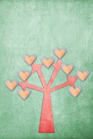 abstract heart tree on old paper photo