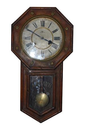 reloj de pendulo: Reloj antiguo, aislado sobre fondo blanco
