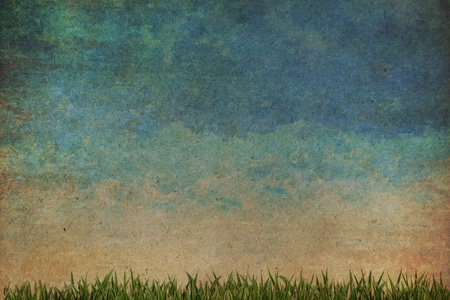 Grass and sky watercolor abstract background on old paper ,Vintage style  Stock Photo