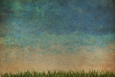 L'herbe et le fond d'aquarelle ciel abstrait sur le papier ancien, de style de cru Banque d'images