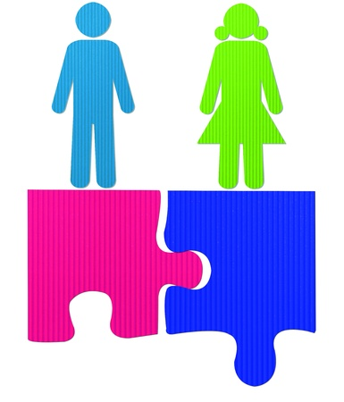 male and female jigsaw photo