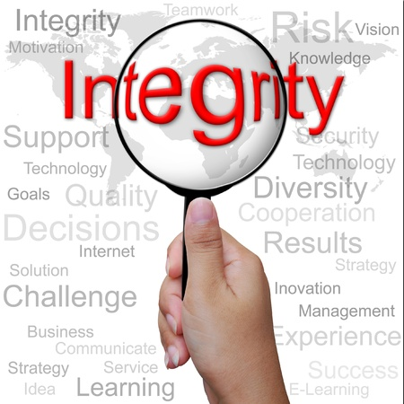 Integrity, word in Magnifying glass ,business background Stock Photo - 13309462