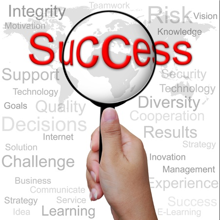 woman handle success: Success, word in Magnifying glass ,business background
