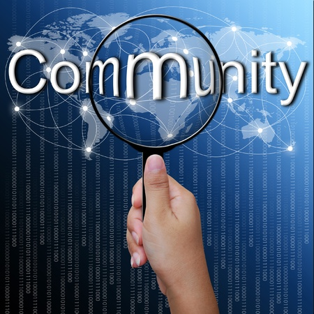 Community, word in Magnifying glass,network background photo