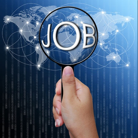 loupe: JOB, word in Magnifying glass,network background
