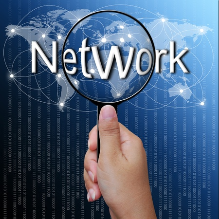 Network, word in Magnifying glass,network background photo