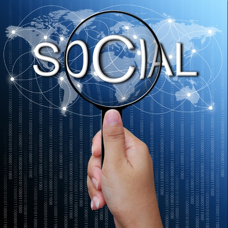 Social, word in Magnifying glass,network background photo