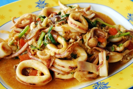 Thai Food Spicy Squid Curry Stock Photo